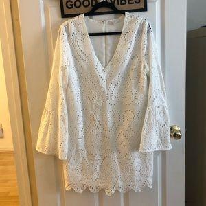 WAYF Eyelet White Long Sleeve Dress